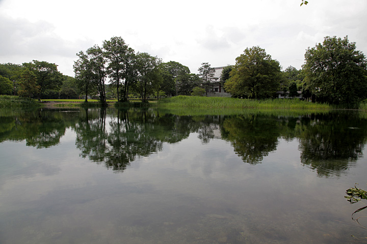曽根城公園より曽根城跡を見る