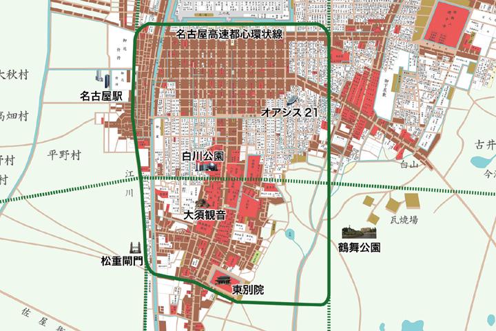 江戸時代名古屋城図と名古屋高速都心環状線