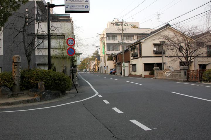 大垣城 西総門跡(京口門跡)付近の美濃路