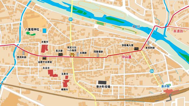 中山道垂井宿地図
