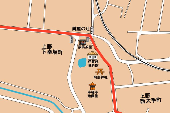 現代鍵屋の辻史跡公園周辺地図