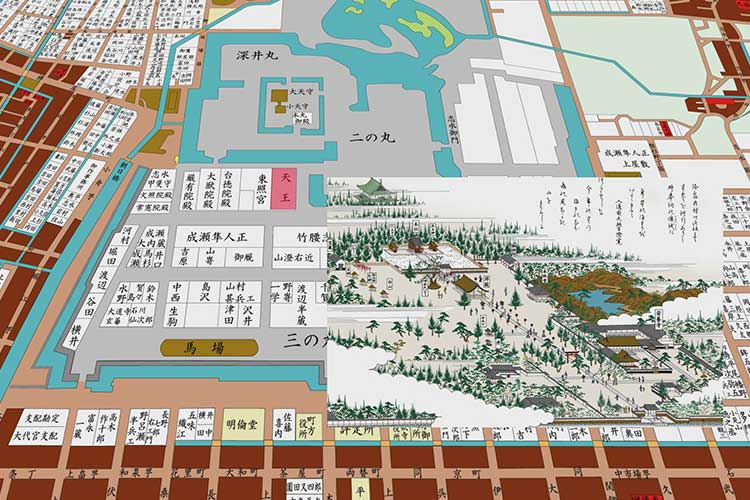名古屋城築城後の天王社位置
