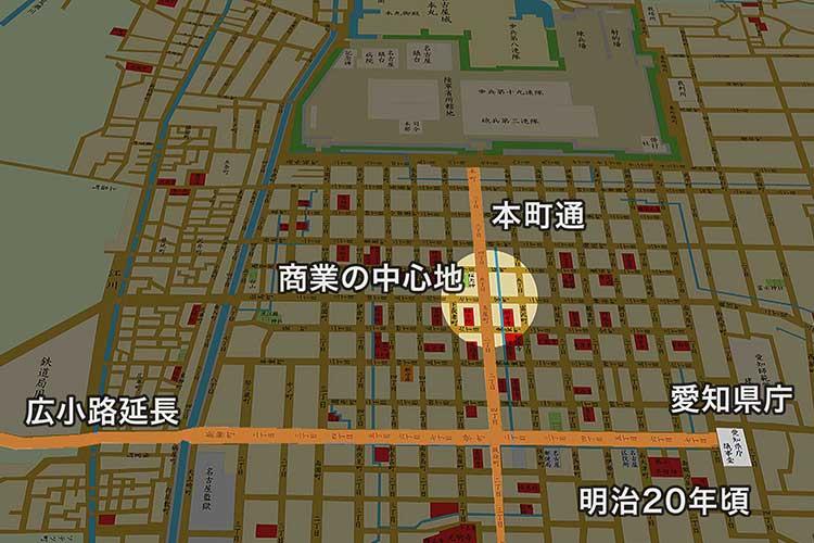 明治20年頃の名古屋中心部